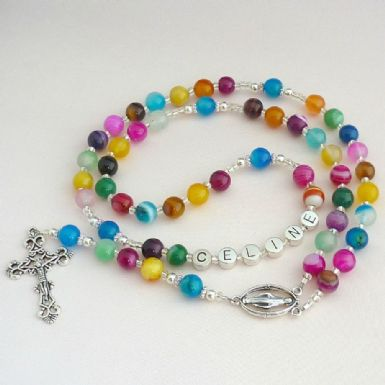 Multicoloured Agate Rosary Beads with Name | Heavens Blessings